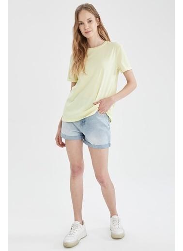 DeFacto Basic Bisiklet Yaka Relax Fit T-shirt Sarı